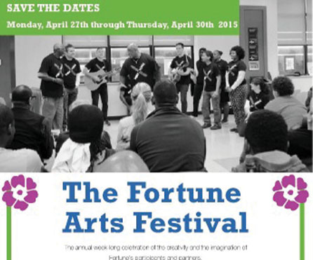 Flier for the Arts Festival at The Fortune Society, April 2015