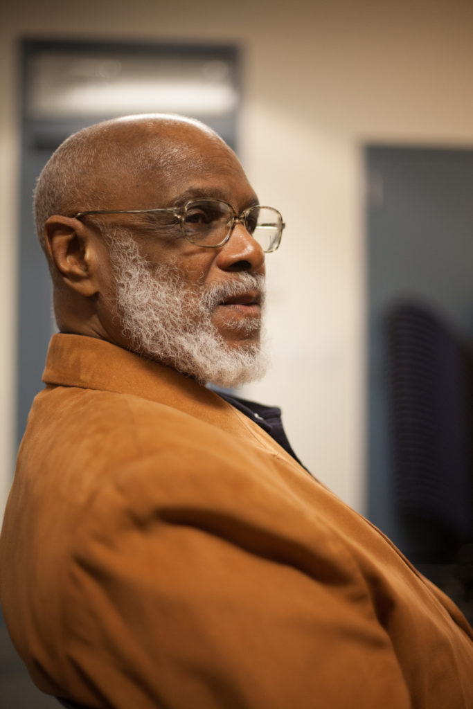 Fortune client Norman Lathan sitting down, discussing his reentry into society