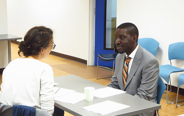 A participant in The Fortune's Society's Employment Services program completing our mock interview process