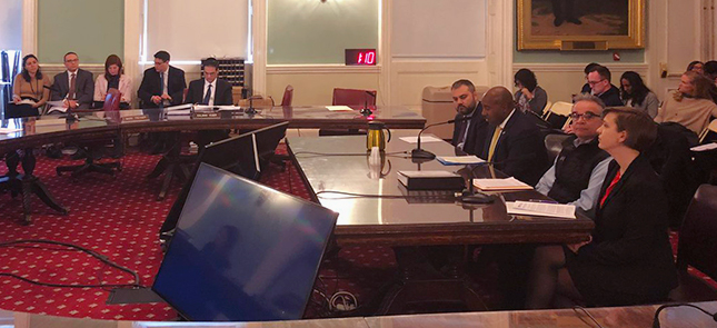 Andre Ward, Associate Vice President of Employment Services and Education, testifying at New York City Hall on March 18